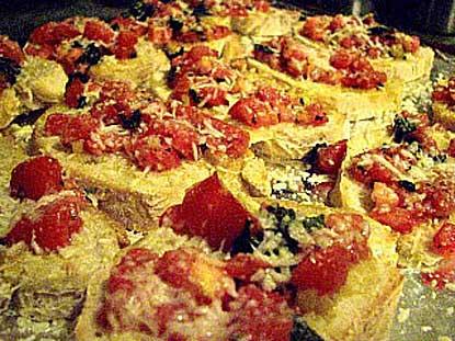 Ramps and Tomato Bruschetta